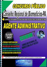 Apostila Impressa Concurso CRBM -CONSELHO REGIONAL DE BIOMEDICINA - 4ª REGIÃO  2021 - AGENTE ADMINISTRATIVO
