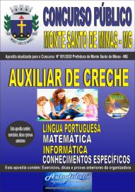 Apostila Impressa Concurso Público Monte Santo de Minas - MG 2020 Auxiliar de Creche