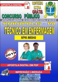 Apostila Digital Concurso PREFEITURA MUNICIPAL DE RURÓPOLIS - PA - 2019 - Técnico Em Enfermagem