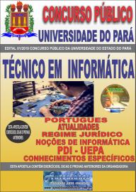 Apostila Impressa Concurso Universidade do Estado do Pará - UEPA 2019 Técnico em Informática