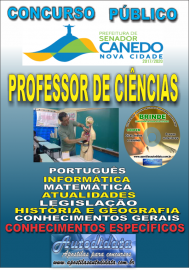 Apostila Impressa SENADOR CANEDO/GO 2020 - Professor De Ciências