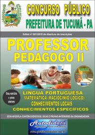 Apostila Impressa Concurso Prefeitura Municipal de Tucumã - PA 2019 Professor Pedagogo II