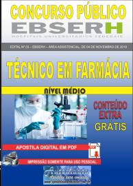 Apostila Digital Concurso EBSERH - 2019 Técnico em Farmácia