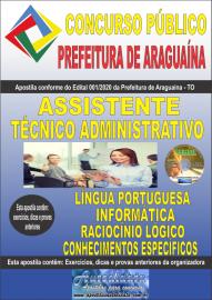 Apostila Impressa Concurso Público Prefeitura Araguaína - TO 2020 Área Assistente Técnico Administrativo