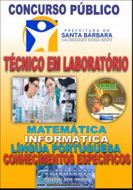 Apostila Impressa Concurso SANTA BÁRBARA - PA 2019 - Técnico de Laboratório