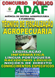Apostila Impressa Concurso ADAF - AM - 2018 - Técnico de Fiscalização Agropecuária