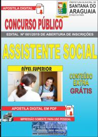 Apostila Digital Concurso  Prefeitura Municipal de Santana do  Araguaia - PA 2019 - Assistente Social