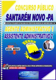 Apostila Digital Concurso Público Prefeitura de Santarém Novo - PA 2021 Agente Administrativo1 e Administrativo 2