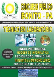 Apostila Impressa Concurso Público Prefeitura de Bonito - PA 2020 Técnico em Laboratório