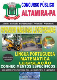 Apostila Impressa Concurso Prefeitura de Altamira - PA 2020 - Operador Máquinas Leves/Pesadas