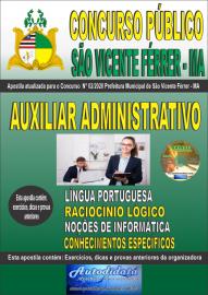 Apostila Impressa Concurso Público São Vicente Férrer - MA 2020 Auxiliar Administrativo