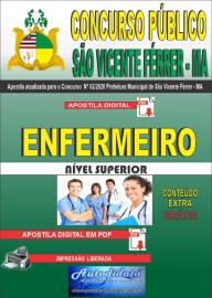Apostila Digital Concurso Público São Vicente Férrer - MA 2020 Enfermeiro