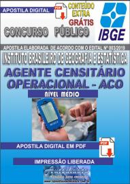 Apostila Digital concurso IBGE 2019 – AGENTE CENSITÁRIO OPERACIONAL (ACO)