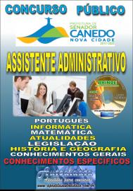 Apostila Impressa SENADOR CANEDO/GO 2020 - Assistente Administrativo