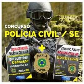 Apostila digital COMBO Concurso PC-SE Policia Civil de Sergipe 2021 Agente e Escrivão + CADERNO DE QUESTÕES