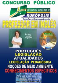Apostila Impressa Concurso PREFEITURA MUNICIPAL DE RURÓPOLIS - PA - 2019 - Professor Licenciado Pleno Em Letras/Habilitação – Língua Estrangeira (Inglês)