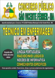 Apostila Impressa Concurso Público São Vicente Férrer - MA 2020 Técnico em Enfermagem