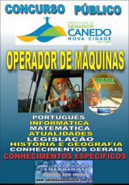 Apostila Impressa SENADOR CANEDO/GO 2020 - Operador De Máquinas
