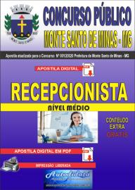 Apostila Digital Concurso Público Monte Santo de Minas - MG 2020 Recepcionista
