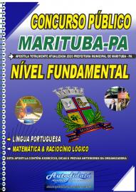 Apostila Impressa Concurso Público Prefeitura de  Marituba - PA 2020 Nível Fundamental Completo