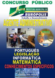 Apostila Impressa Concurso PREFEITURA MUNICIPAL DE RURÓPOLIS - PA - 2019 - Agente Administrativo