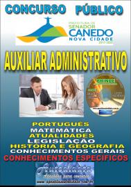 Apostila Impressa SENADOR CANEDO/GO 2020 - Auxiliar Administrativo