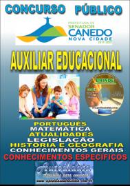 Apostila Impressa SENADOR CANEDO/GO 2020 - Auxiliar Educacional