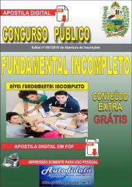 Apostila Digital Concurso Prefeitura Municipal de Tucumã - PA 2019 Fundamental Incompleto