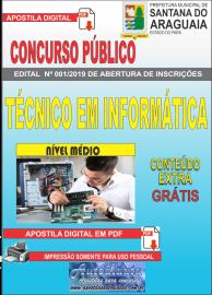 Apostila Digital Concurso  Prefeitura Municipal de Santana do  Araguaia - PA 2019 - Técnico em Informática
