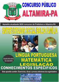 Apostila Impressa Concurso Prefeitura de Altamira - PA 2020 - Entrevistador Social/Bolsa Família