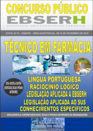Apostila Impressa Concurso EBSERH - 2019 Técnico em Farmácia