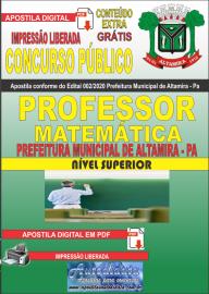 Apostila Digital Concurso Público Prefeitura de Altamira 2020 Área Professor de Matemática