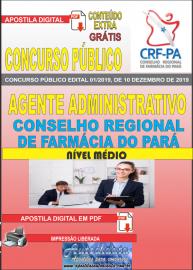 Apostila digital concurso público Coselho Regional de Farmácia - Pa 2020 Nível Médio Agente Administrativo