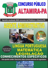 Apostila Impressa Concurso Prefeitura de Altamira - PA 2020 - Agente Administrativo