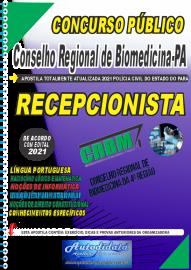 Apostila Impressa Concurso CRBM -CONSELHO REGIONAL DE BIOMEDICINA - 4ª REGIÃO 2021 - RECEPCIONISTA