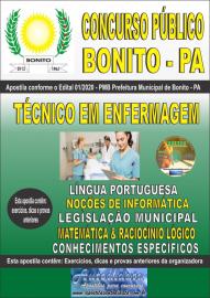 Apostila Impressa Concurso Público Prefeitura de Bonito - PA 2020 Técnico em Enfermagem