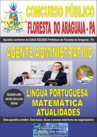 Apostila Impressa Concurso Público Prefeitura de Floresta do Araguaia - Pa 2020 Área Agente Administrativo
