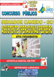 Apostila Digital SENADOR CANEDO/GO 2020 - Assistente Operacional/Pedreiro