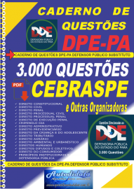 Apostila Digital Caderno de Questões concurso da  Defensoria Pública do Estado do Pará DPE-PA 2021 - Defensor Público Substituto.