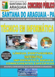 Apostila Impressa Concurso  Prefeitura Municipal de Santana do Araguaia - PA 2019 Técnico em Informática