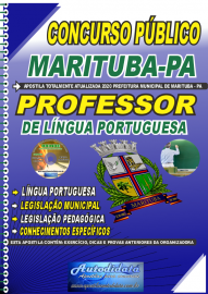 Apostila Impressa Concurso Público Prefeitura de  Marituba - PA 2020 Professor de Língua Portuguesa