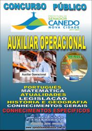 Apostila Impressa SENADOR CANEDO/GO 2020 - Auxiliar Operacional