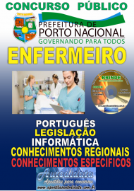 Apostila Impressa Concurso da Prefeitura de Porto Nacional - TO – 2019 - Enfermeiro