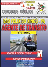 Apostila Digital concurso SÃO FÉLIX DO XINGU/PA - 2019 – Agente De Trânsito