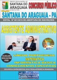 Apostila Impressa Concurso Prefeitura Municipal de Santana do Araguaia - PA 2019 Assistente Administrativo