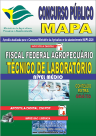 Apostila Digital Concurso Público do MAPA - 2020 Fiscal Federal Agropecuário - Técnico de Laboratório