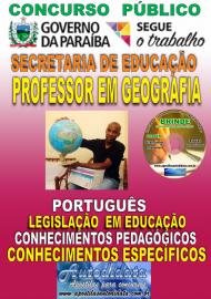 Apostila Impressa Concurso SEECT/PB - 2019 - Professor De Geografia